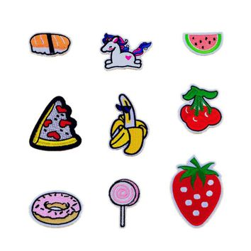 Lovely Banana Cherry Watermelon Sushi Donuts Patches Iron On Or Sew Fabric Sticker For Clothes Badge Embroidered Appliques DIY