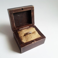 Rustic engagement ring box, wedding pillow rustic looking old vintage rustic wedding burlap