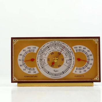 Beautiful Vintage Stormoguide, Temperature and Humidity Guide, Taylor Instruments, Thermometer, Barometer, Table Weather Station