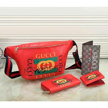 Gucci Men Fashion Leather Waist Bag Single-Shoulder Bag Wallet Purse Set Four-Piece