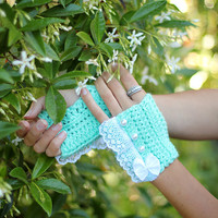 Fingerless Gloves in Mint by Mademoiselle by mademoisellemermaid