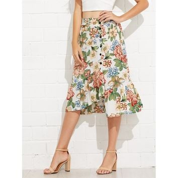 Floral Print Button Detail Ruffle Hem Skirt