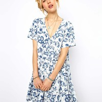 ASOS Smock Dress In China Print