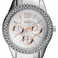 Women's Fossil 'Stella' Crystal Bezel Multifunction Bracelet Watch, 38mm