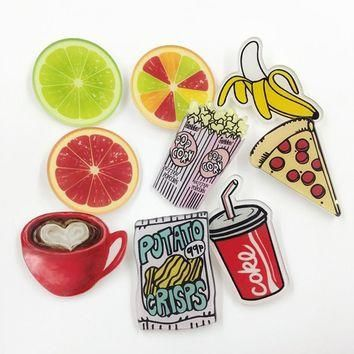Cartoon Food Drink Acrylic Brooches Pin Badge Clothes Backpack Shoes Package Icon Wome