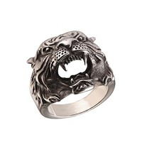 Men's Vintage Silver Black Stainless Steel Tiger Head Ring , Size 7 to 14