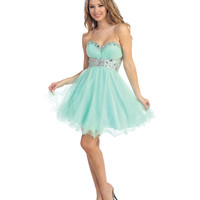 Mint Tulle & Beaded Strapless Sweetheart Short Dress Prom 2015