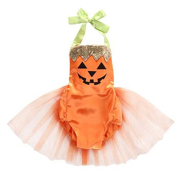 Kids Baby Girls Halter Party Halloween Costume Tutu Romper Backless Cute Cartoon Jumpsuit Playsuit Outfit Halloween Gift