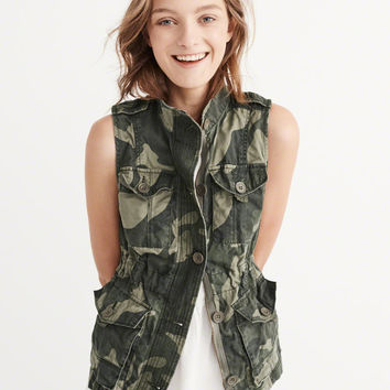 Womens Military Twill Vest | Womens Outerwear & Jackets | Abercrombie.com