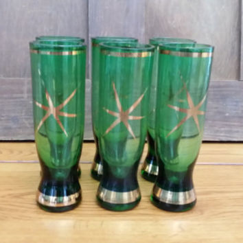 Vintage Mid Century Atomic Green Gold Cordial Shot Glasses Set of Six Perfect for Your Retro Bar