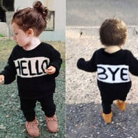 MAKA Kids Baby Sweater For Girls Mother Daughter Sweaters Hello Family Matching Coat Crochet  Winter Clothes Christmas cardigan