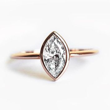 Rring for Women 18k Gold 0.5 CT marquise cut Diamond jewelry Engagement wedding fashion bague Solitaire Ring