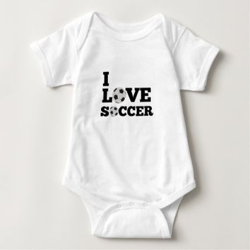I love Soccer Sports Baby Jersey Bodysuit