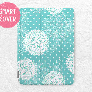 Tiffany Blue floral pattern Smart Cover for iPad Air, iPad Air 2, elegant Smart cover with back case -P13