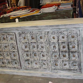 Gothic Medallion Brass Antique Doors Sideboard Old Door Console Rustic Chest Buffet Ivory White Cabinet Storage Farmhouse Interior Design