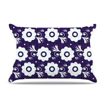 "Louise Machado ""Navy Flower"" Purple White Pillow Case"