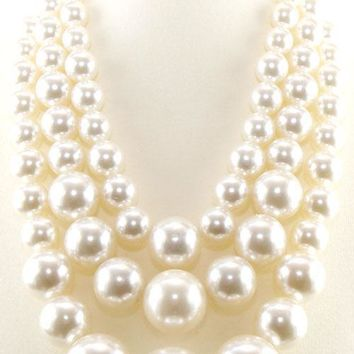 "19.50"" cream large faux pearl multi layered 3 strand necklace 1"" earrings chunky"