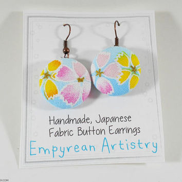 Kimono Fabric Earrings Japanese Button Earrings - Japanese Cotton Handmade Jewelry Button Earrings Pink and Yellow Sakura Cherry Blossoms