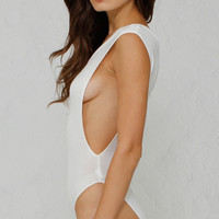 Basic Muscle Tank Bodysuit - White