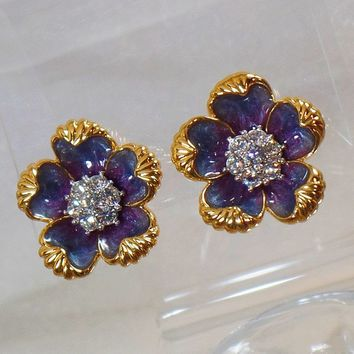 Nolan Miller Earrings. Large Clip Earrings. Vintage Earrings. Rhinestone Earrings. Enamel Earrings. Jewelry for Women. waalaa