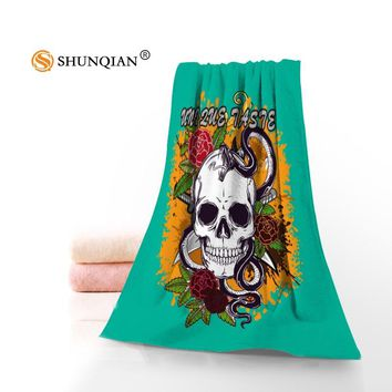 Custom skull Washcloth Swimwear Shower Towel Beach Washcloth Swimming Drying Camping Towel 35x75cm 70x140cm