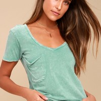 Loni Washed Turquoise V-Neck Tee