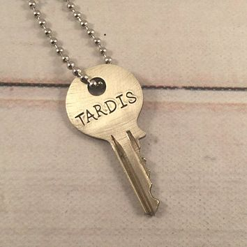 """TARDIS"" KEY - Doctor Who - Whovian necklace - READY TO SHIP"