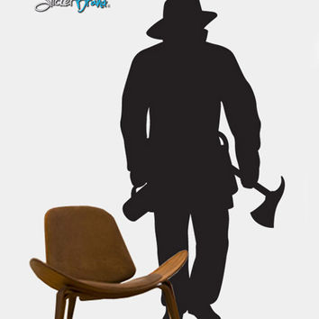 Vinyl Wall Decal Sticker Full Size Firefighter #213