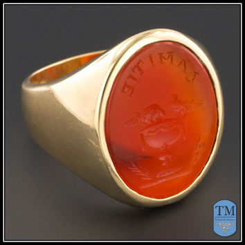 Antique 14k Gold Men's Carnelian Seal or Signet Intaglio Friendship Ring - Size 11
