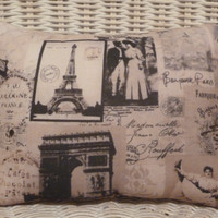 French Paris Collage Pillow  reversible  10 x 7