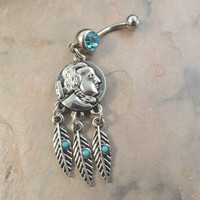 Indian Head Coin Dream Catcher Belly Button Jewelry Ring