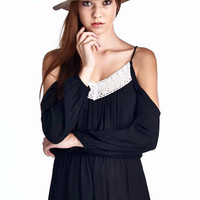 Black Cold Shoulder Romper With Lace Trim