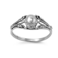 Sterling Silver Half Dome Antique Style Ring - Size 8