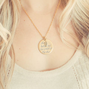 Hand Stamped Feather Charm Necklace: She Believed She Could So She Did