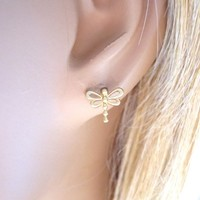 Dragonfly earrings, stud earrings | simplecrystal - Jewelry on ArtFire
