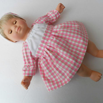 """Bitty Baby Doll Clothes Twin Girl or Baby Doll 15"""" American Girl Peach Pink Ivory Green Plaid Peasant Dress & Hat (cap) spring summer 2 pc"""