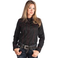 Women's Cruel Girl Black and Red Stitching Buttondown Shirt