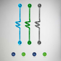 14 Gauge Silver, Blue, and Green Industrial Barbell 2 Pk