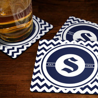 Personalized Monogram Coaster Set - Chevron Coasters Custom Drink Coasters Cork Hardboard or Fabric