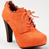 Qupid PUFFIN-34 Lace Up Ruffle Oxford Platform Chunky High Heel Ankle Bootie Boot