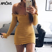 Aproms Autumn Ruffle Knitted Women Dress Off Shoulder Tunic Dress Sexy Winter Long Sleeve Bodycon Club Party Sweater Dresses