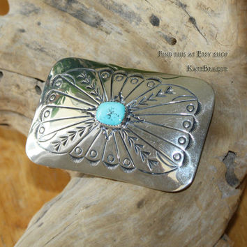 Navajo Sterling Silver & Turquoise Belt Buckle