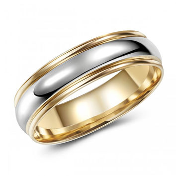 Two Tone 10K Gold Domed Wedding Band – Visually Interesting – Chic – Stylish - Sophisticated