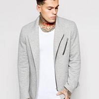 ASOS Slim Fit Blazer In Jersey With Biker Styling