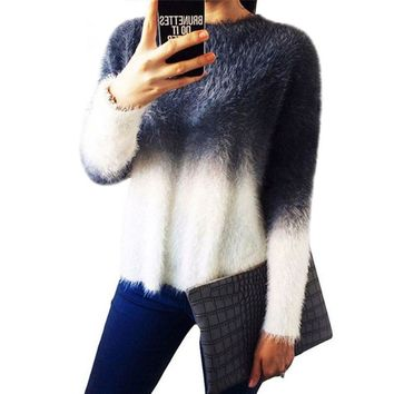 winter sweater 2018 Women Europe and America irregular loose large size female gradient color mohair pullovers 69211