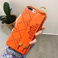 Hermes Fashion Women Men Personality iPhone Phone Cover Case Phone ShellFor iphone 6 6s 6plus 6s-plus 7 7plus 8 8plus X Orange I12408-1