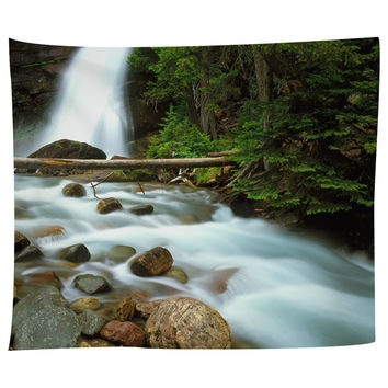 Waterfall In Glacier National Park Tapestry