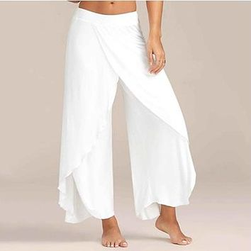 Chiffon  Irregular Side Pants Women Causal Wide Leg Split Trousers Solid Elastic Wasit Loose Pants
