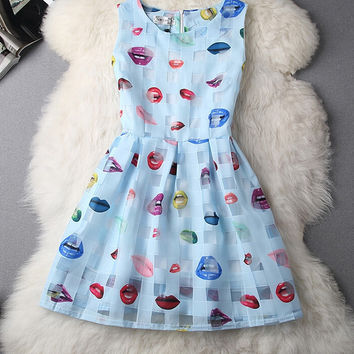 Organza Lips Printed A-Line Zipper Back Sleeveless Mini Dress
