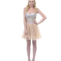 2013 Homecoming Dresses - Gold Rhinestone Sweetheart Strapless Short Dress - Unique Vintage - Prom dresses, retro dresses, retro swimsuits.